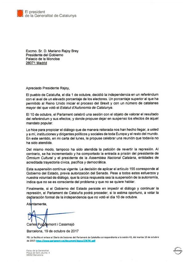 Carta de puigdemont a rajoy 39 si activa el 155 proclamar for Modelo acuerdo extrajudicial clausula suelo