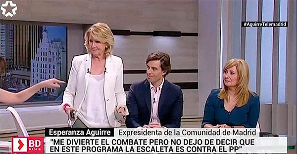 Esperanza Aguirre a una presentadora de Telemadrid: