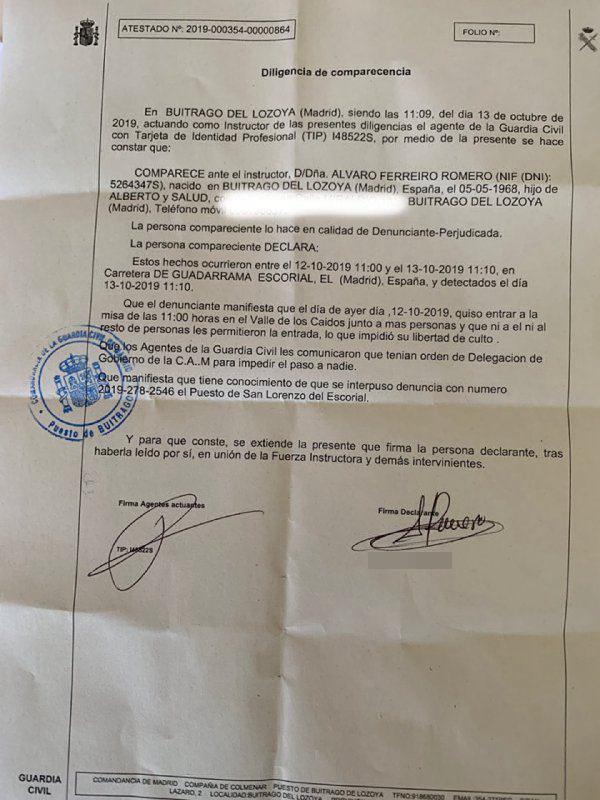 denuncia guardia civil libertad culto