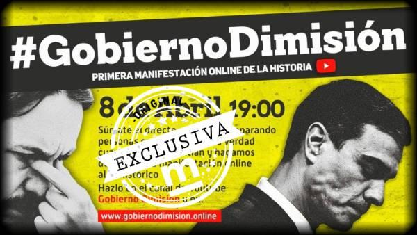 gobierno dimision, gobierno dimision youtube, manifestacion gobierno dimision, manifestacion virtual, #GobiernoDimision